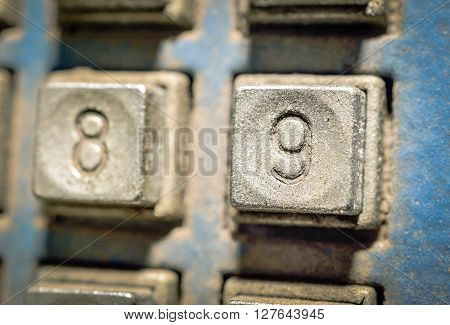 Selective focus of number on button number telephone in different styles and colors (concept and idea image)