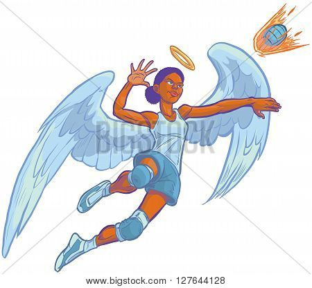 Cartoon clip art illustration of an African American girl angel volleyball player mascot jumping to spike an incoming serve that looks like a fire ball. Wings and halo are on a separate layer in vector.