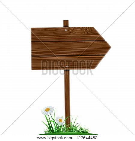 Wooden direction pointer. Road sign isolated on a white background. Stock vector illustration.