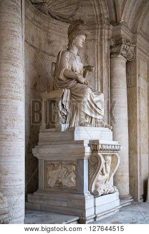 ROME, ITALY - APRIL 8, 2016: Roman marble sculpture from Capitoline Museums, Rome