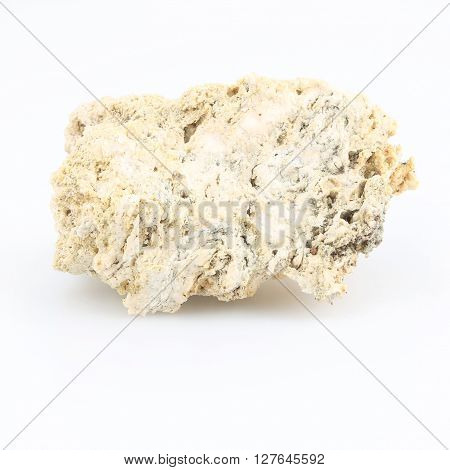 White lava rock from volcano on a white background