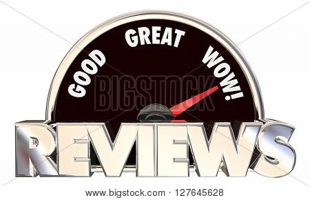 Reviews Feedback Ratings Good Great Wow Speedometer 3d Words