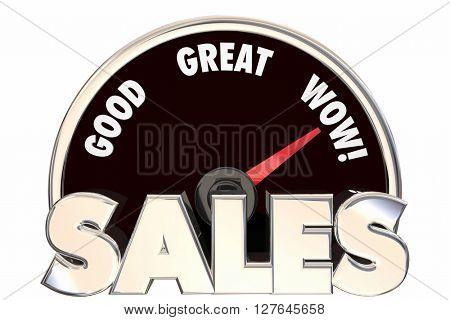 Sales Great Increase Improved Revenue Money Deals Speedometer 3d Words