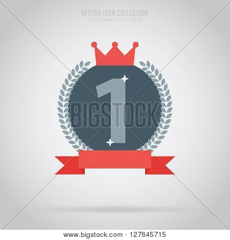 Winner badge isolated vector in flat design style. Trophy winner badge or label. First place. Winner badge. Award rosette badge. Award symbol. Special sign. Winner. Award sign. First place.