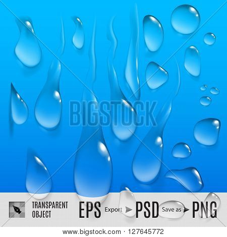 Isolated set of transperent variety water drops on blue