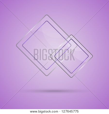 Abstract glass panel with copy space on violet background, stock vector