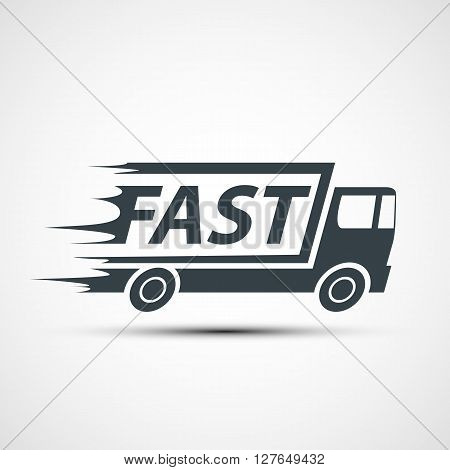 Icon truck of cargo delivery. Stock vector illustration.