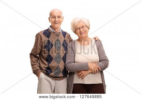 Studio shot of a lovely elderly couple posing together isolated on white background