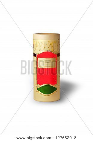 colored cylindrical box of tea under the cut on a white background