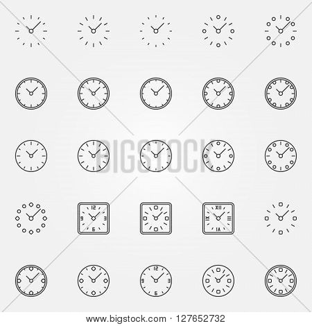 Clock icons set - vector linear clocks symbols or signs. Time logo elements for your design
