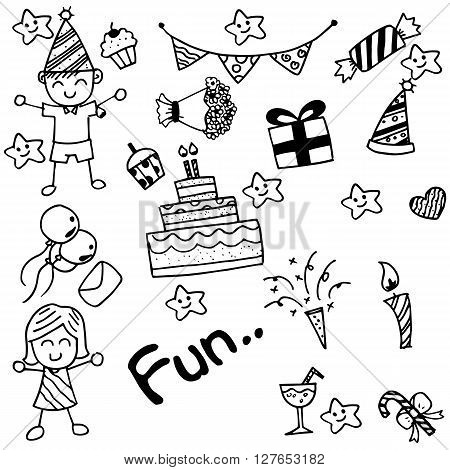 Birthday doodle for kids with black and white backgrounds