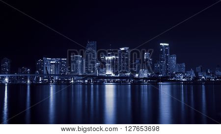 Miami city at night, Florida, United States of America