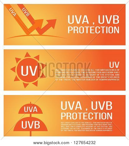 uv, uva and uvb protection banner. 3 versions