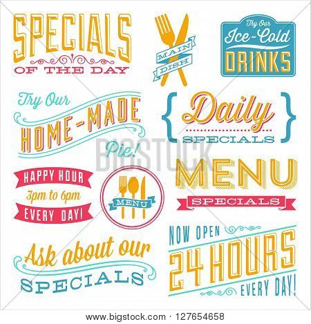 Vintage Menu Designs - Set of vintage frames and label designs. Each element is grouped and colors are global for easy editing.  ?