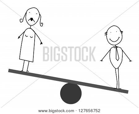 Businessman & businesswoman balances .eps10 editable vector illustration design