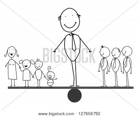 Businessman balances between family and partner .eps10 editable vector illustration design