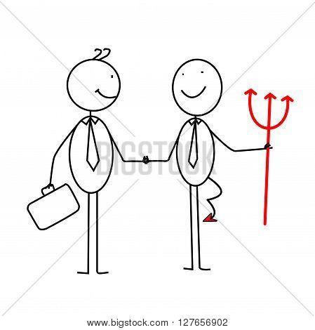 Businessman deal with red devil .eps10 editable vector illustration design