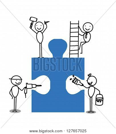 Businessman Teamwork Jigsaw .eps10 editable vector illustration design