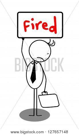Fired businessman banner .eps10 editable vector illustration design