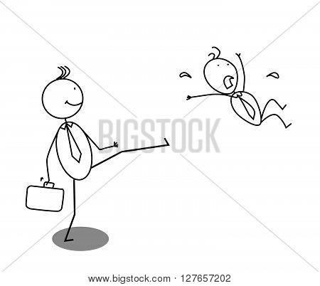 Angry Fired businessman .eps10 editable vector illustration design