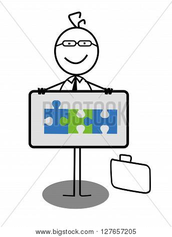 Businessman Cooperation Banner .eps10 editable vector illustration design