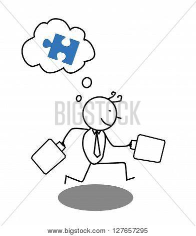 Businessman run for Cooperation .eps10 editable vector illustration design