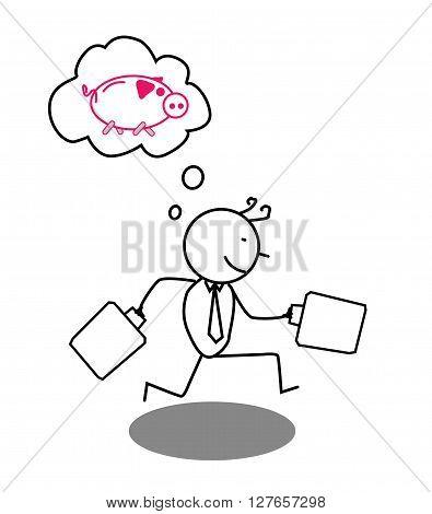 Businessman run for piggybank .eps10 editable vector illustration design
