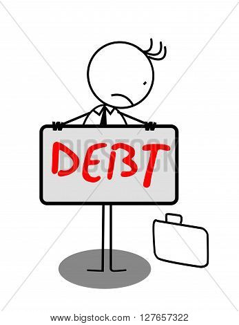 Businessman Sad Debt Banner .eps10 editable vector illustration design