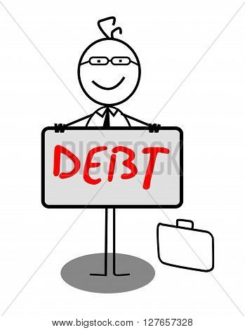 Businessman Happy Debt Banner .eps10 editable vector illustration design