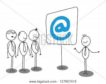 Businessman Presentation about online .eps10 editable vector illustration design