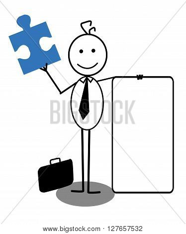 Businessman with banner and Jigsaw .eps10 editable vector illustration design