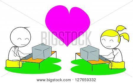 Couple computer chat .eps10 editable vector illustration design