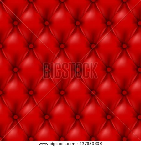 Vector Leather background with buttons. Red wallpapers.