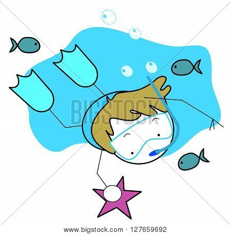 Boy diving .eps10 editable vector illustration design
