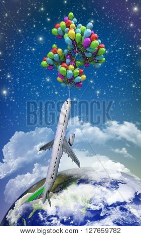VT light air travel concept airplane flies on balloons on a background of the sky 3d illustration render