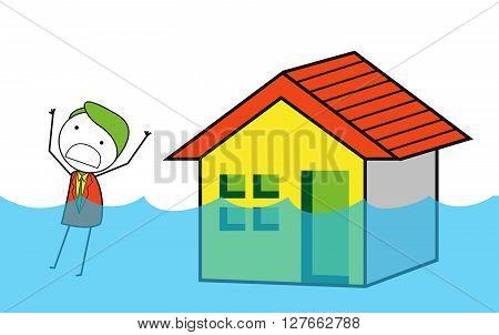 House flood .eps10 editable vector illustration design
