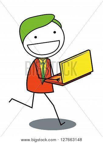 Man shop online .eps10 editable vector illustration design