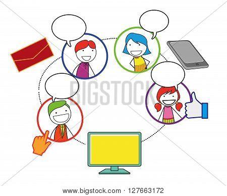 Social network people .eps10 editable vector illustration design