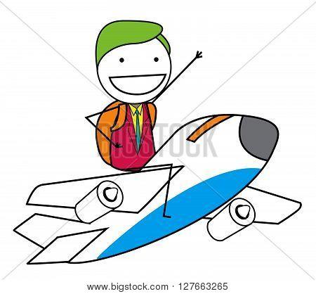 Man traveling airplane .eps10 editable vector illustration design