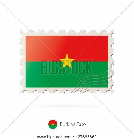 Postage Stamp With The Image Of Burkina Faso Flag.