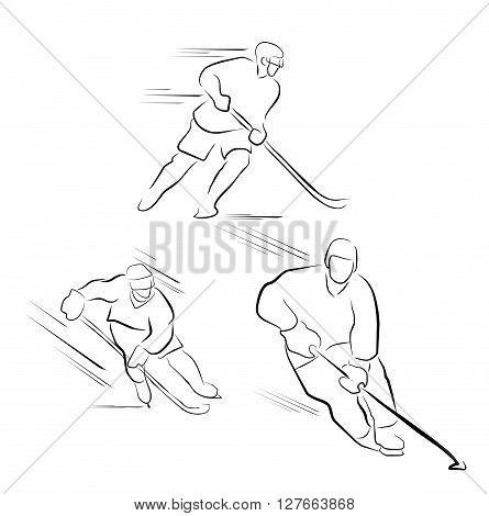 Hockey player Illustration .eps10 editable vector illustration design