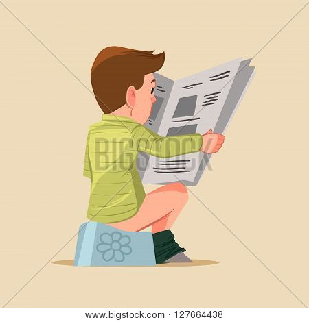 boy sitting on potty with newspaper cartoon character vector illustration