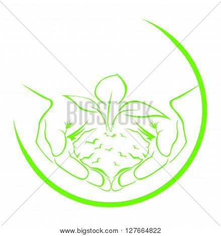 Green hand symbol .eps10 editable vector illustration design