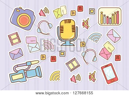 Audio Visual Media.eps10 editable vector illustration design