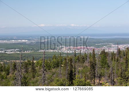 Looking out over the city of Anchorage, Alaska