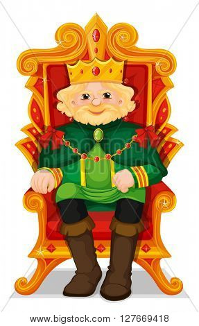 King sitting in the throne illustration