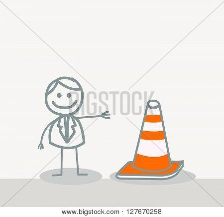 Funny Doodle : Under Construction Sign.eps10 editable vector illustration design