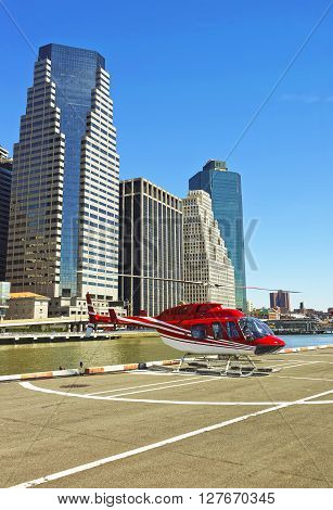 Helicopter On The Helipad In Lower Manhattan New York