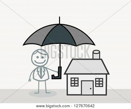 Man House Insurance Doodle.eps10 editable vector illustration design