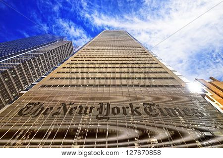 The New York Times Daily Newspaper Building In Midtown Manhattan